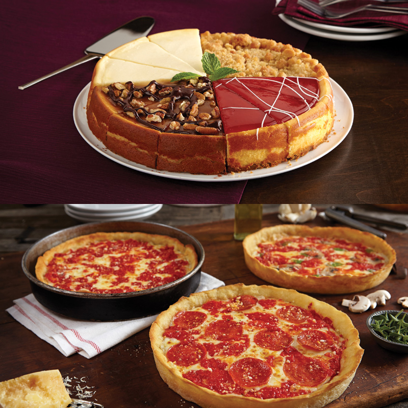 1 Eli's Sampler Cheesecake & 3 Lou's Pizzas