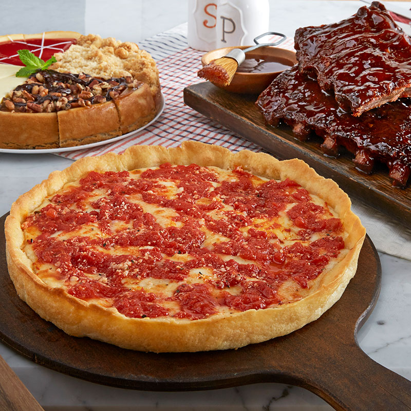 Lou's Pizza, Real Urban BBQ Ribs & Eli's Cheesecake Combo
