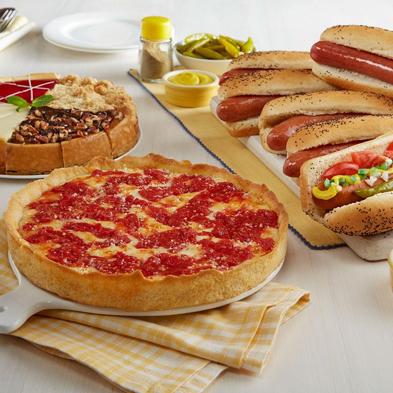 Lou's Pizza, Vienna Beef Hot Dog Kit & Eli's Cheesecake Combo