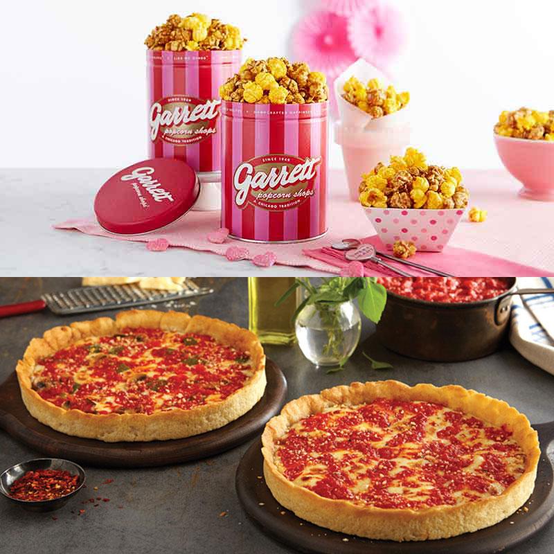 2 Garrett Popcorn Petite Pink Tins & 2 Lou's Pizzas