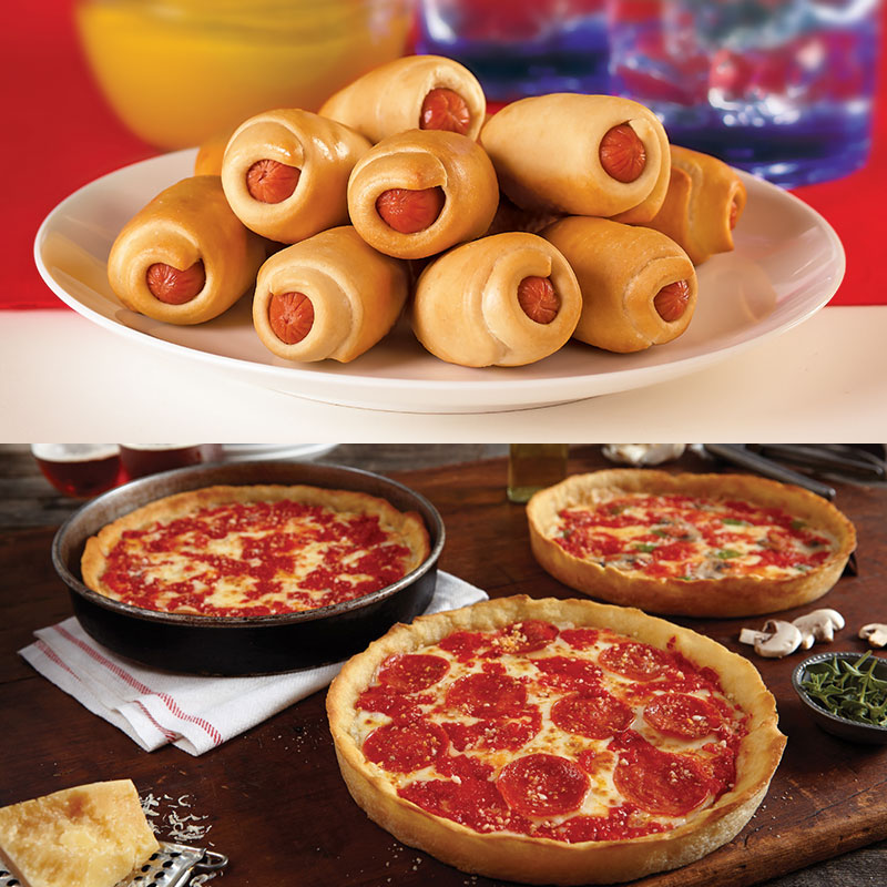 Vienna Beef Mini Bagel Dogs & 4 Lou's Pizzas