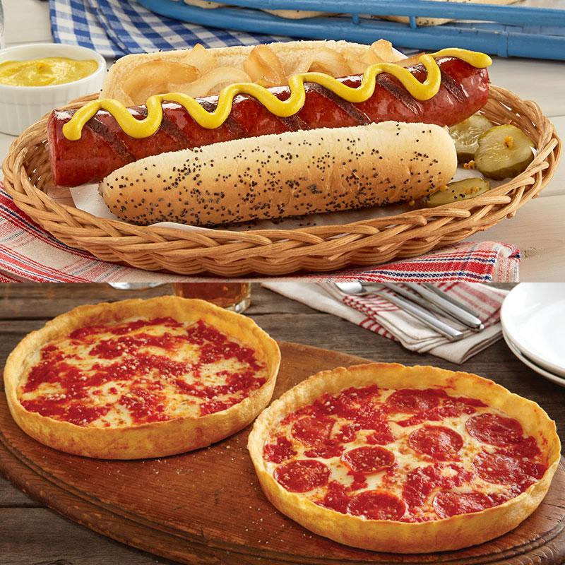 Portillo's Maxwell Street Polish Sausage Kit & 2 Lou's Pizzas