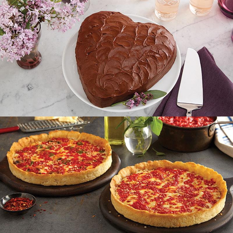 Portillo's Chocolate Cake & 2 Lou's Pizzas