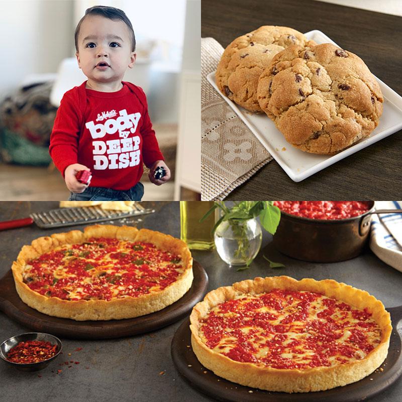 Two Carol's Cookies, Red Onesie & 2 Lou's Pizzas
