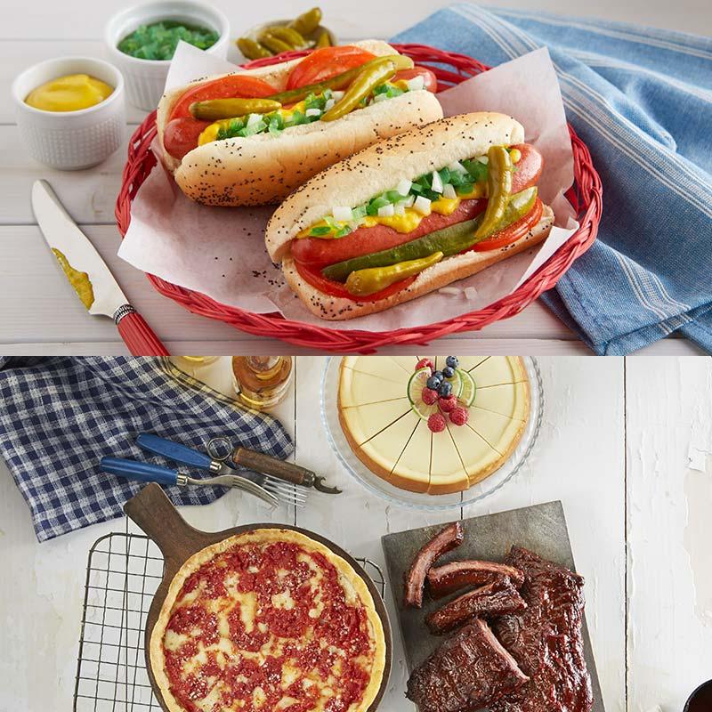 Lou's Pizza, Portillo's Hot Dog Kit, Real Urban BBQ Ribs & Eli's Cheesecake Combo