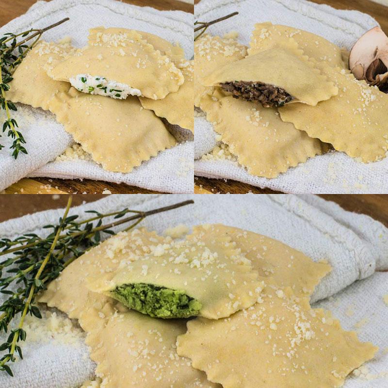 Perfect Pasta Gluten Free Four Cheese, Spinach, and Portobello Ravioli with Sauces