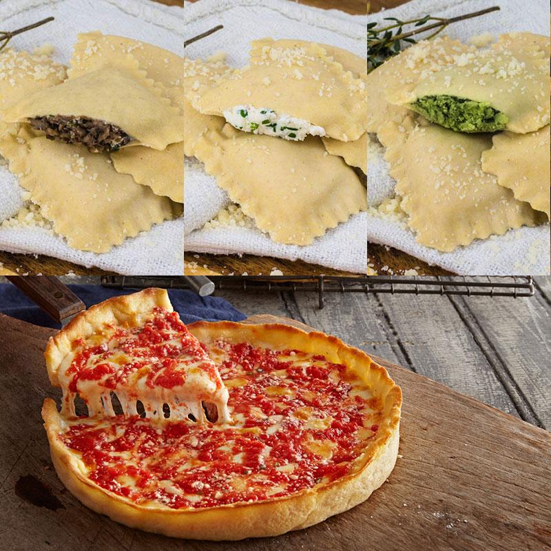 Perfect Pasta Gluten Free Four Cheese, Spinach, and Portobello Ravioli with Sauces & 2 Gluten Free Lou's Pizzas