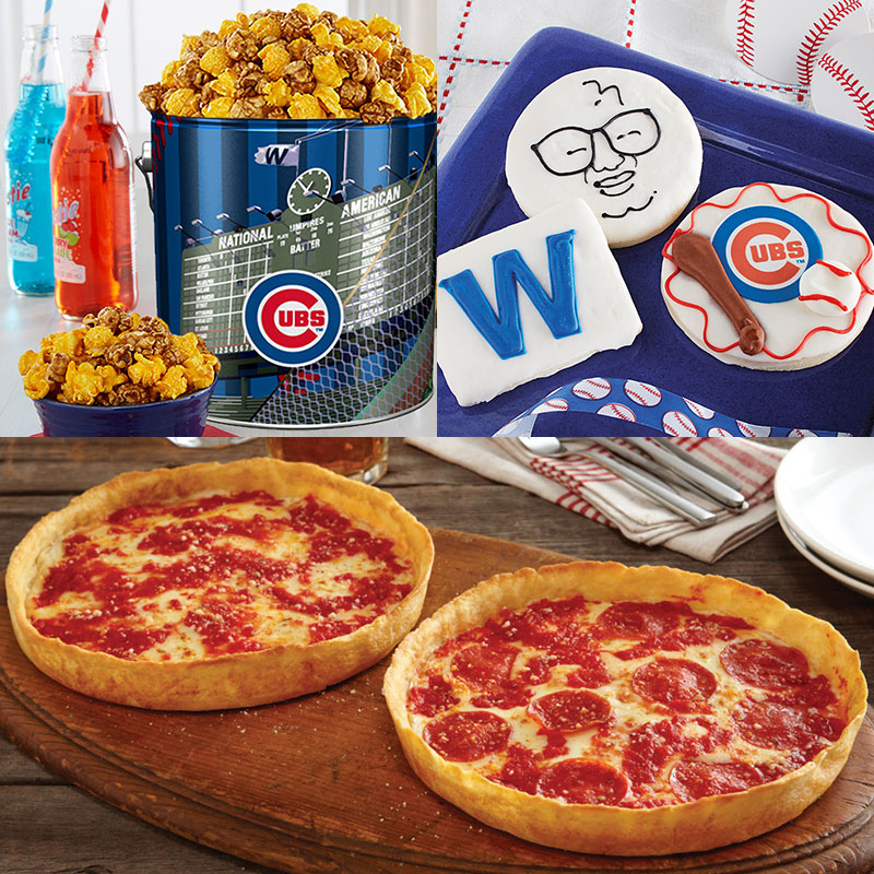 Garrett Popcorn Chicago Cubs Classic Tin, Cubs Cookies & 2 Lou's Pizzas