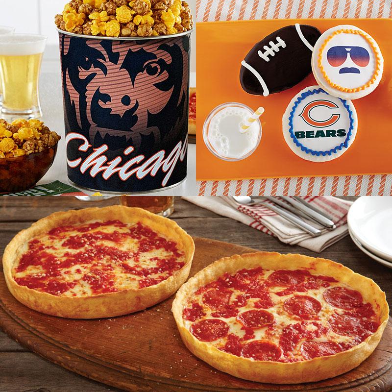Garrett Popcorn Chicago Bears Classic Tin, Bears Cookies & 2 Lou's Pizzas