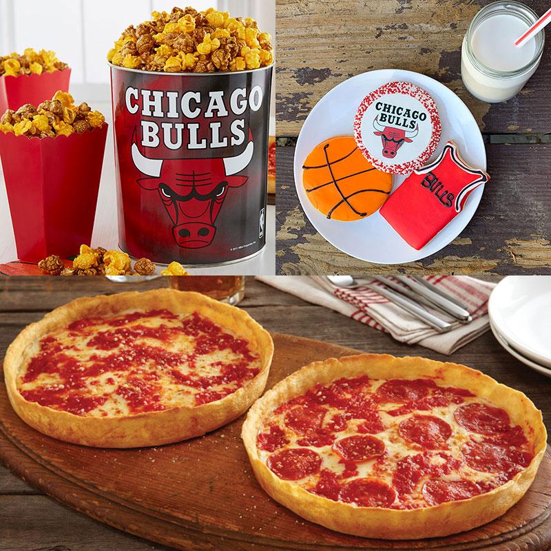 Garrett Popcorn Chicago Bulls Classic Tin, Bulls Cookies & 2 Lou's Pizzas
