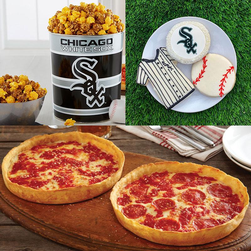 Garrett Popcorn Chicago White Sox Classic Tin, White Sox Cookies & 2 Lou's Pizzas