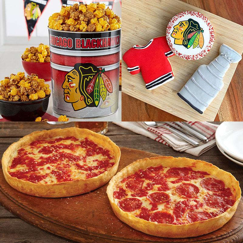 Garrett Popcorn Chicago Blackhawks Classic Tin, Blackhawks Cookies & 2 Lou's Pizzas