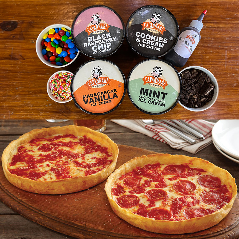 Capannari Ice Cream Party-In-A-Box & 2 Lou's Pizzas
