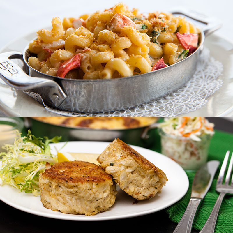 Shaw's Crab House Lobster Mac & Crab Cakes