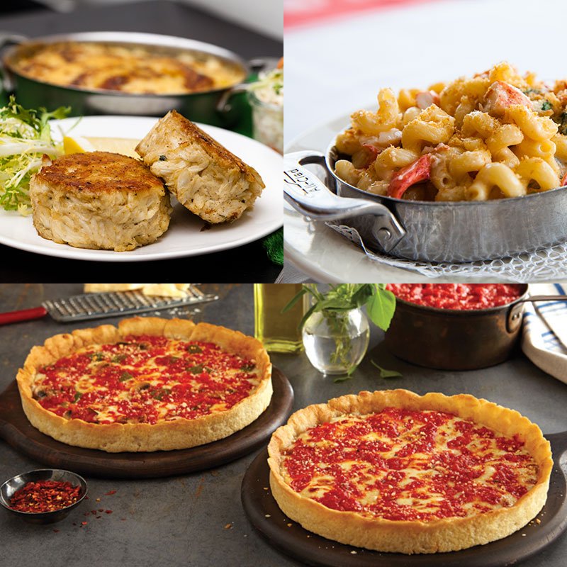 Shaw's Crab House Lobster Mac, Crab Cakes & 2 Lou's Pizzas