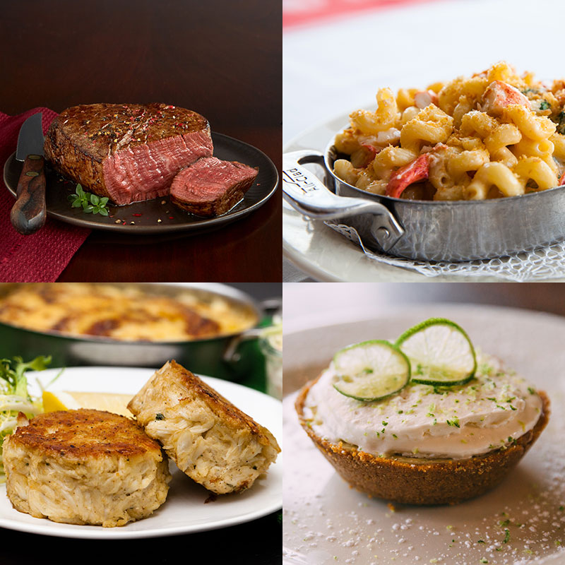 2 Wildfire 8-oz. Filets, Shaw's Crab House Lobster Mac, Crab Cakes, & 2 Mini Pies