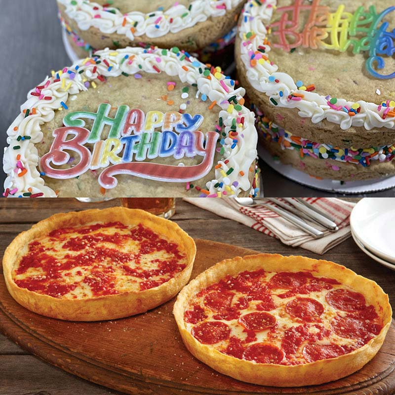 Sweet Thing Birthday Confetti Cookie Cake & 2 Lou's Pizzas