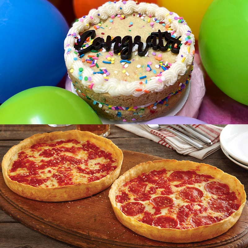 Sweet Thing Congrats Confetti Cookie Cake & 2 Lou's Pizzas