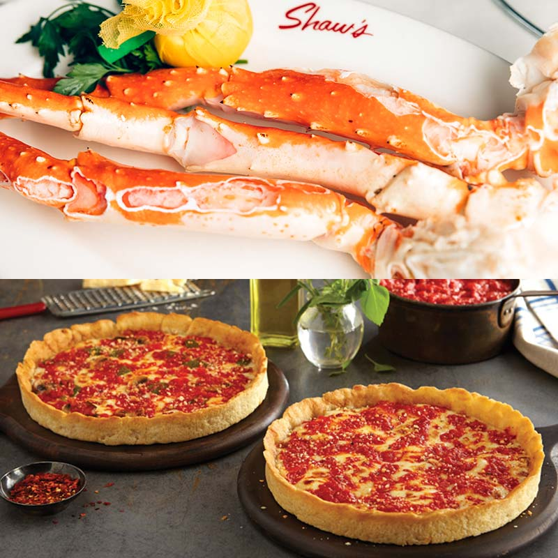 Shaw's Crab House Alaskan Red King Crab Legs Kit & 2 Lou's Pizzas