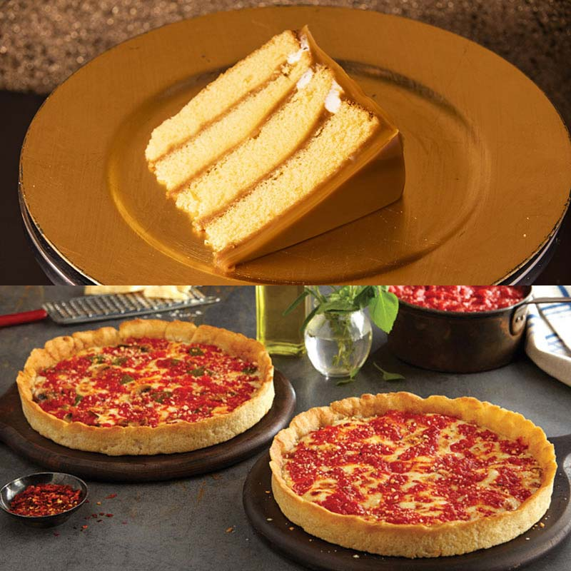 Brown Sugar Bakery Carmel Cake & 2 Lou's Pizzas