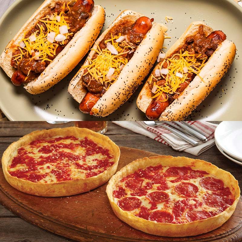 Vienna Beef & Wildfire Chili Dog Kit & 2 Lou's Pizzas