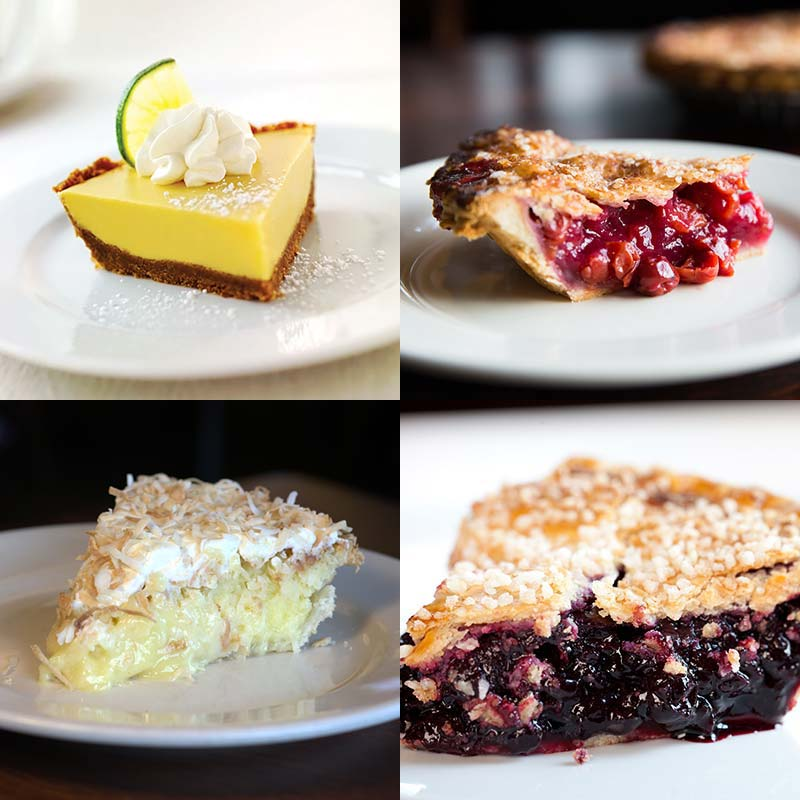 Wildfire Door County Cherry, Key Lime, Classic Blueberry, and Coconut Pies