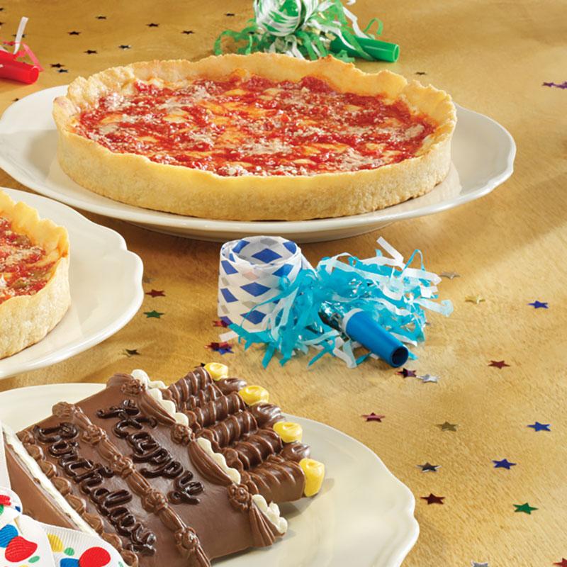 Long Grove Happy Birthday Chocolate & 2 Lou's Pizzas