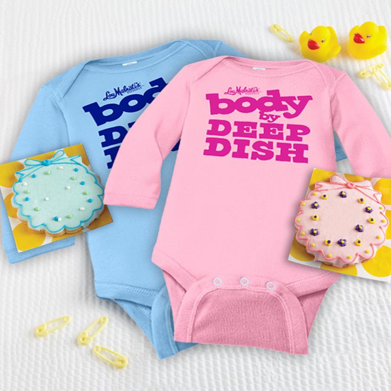 Deerfields Bakery Pink New Baby Cookie, Pink Onesie & 2 Lou's Pizzas