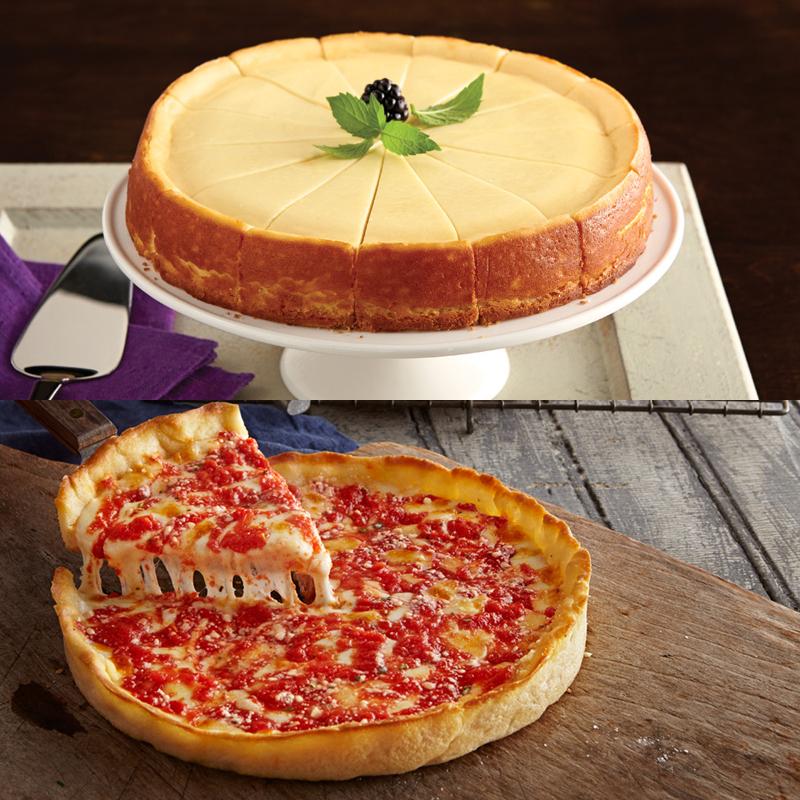 1 Eli's Original Plain Cheesecake & 1 Lou's Pizza