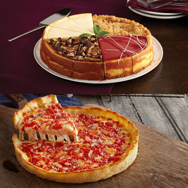 1 Eli's Sampler Cheesecake & 1 Lou's Pizza