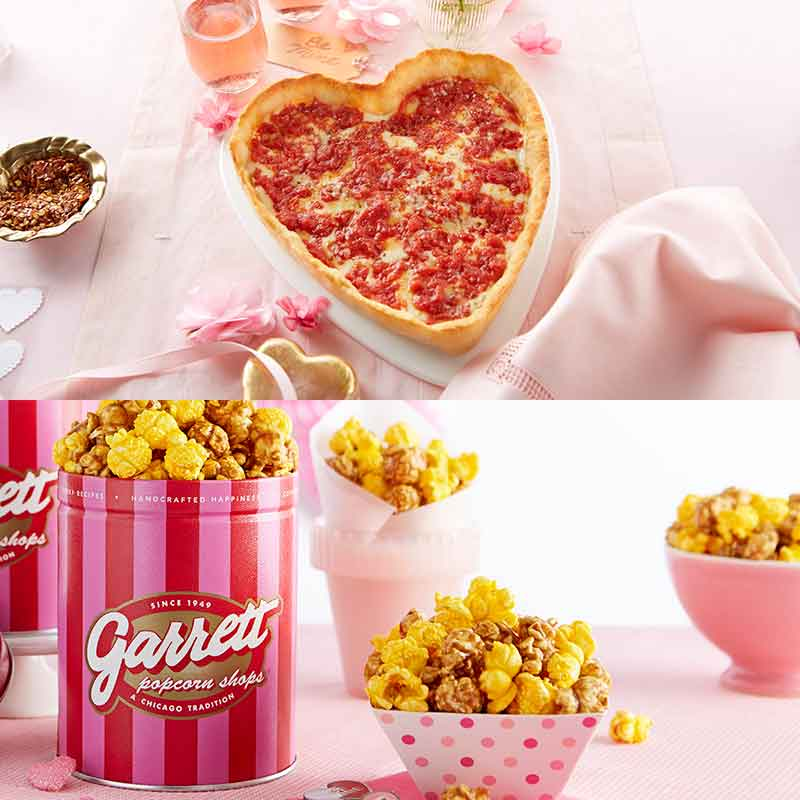 Garrett Popcorn Petite Pink Tin & 1 Heart Shaped Lou's Pizza