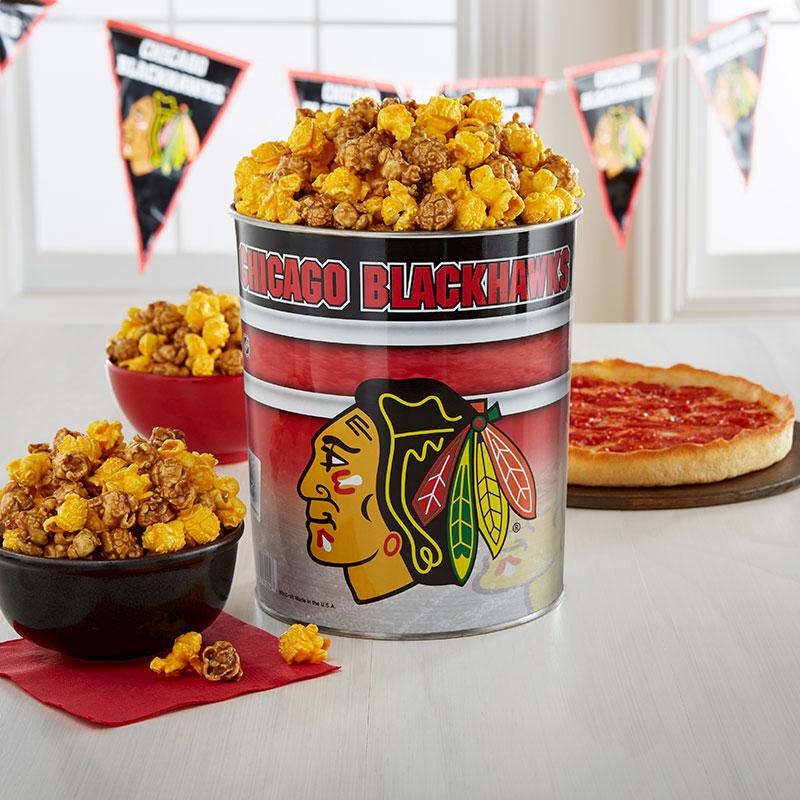 Garrett Popcorn Chicago Blackhawks Classic Tin & 2 Lou's Pizzas