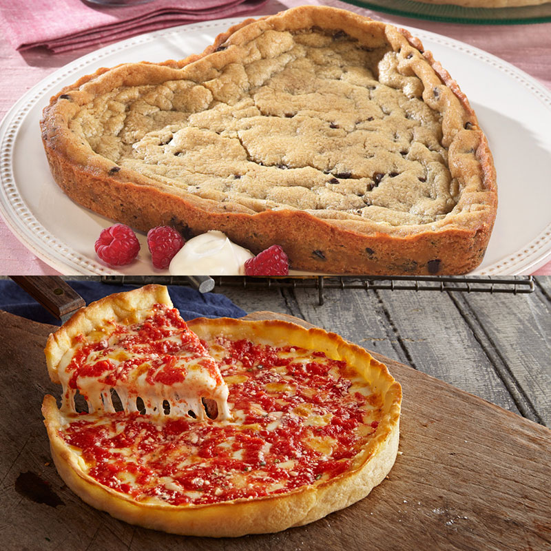 Lou's Heart Shaped Chocolate Chip Cookie & Pizza
