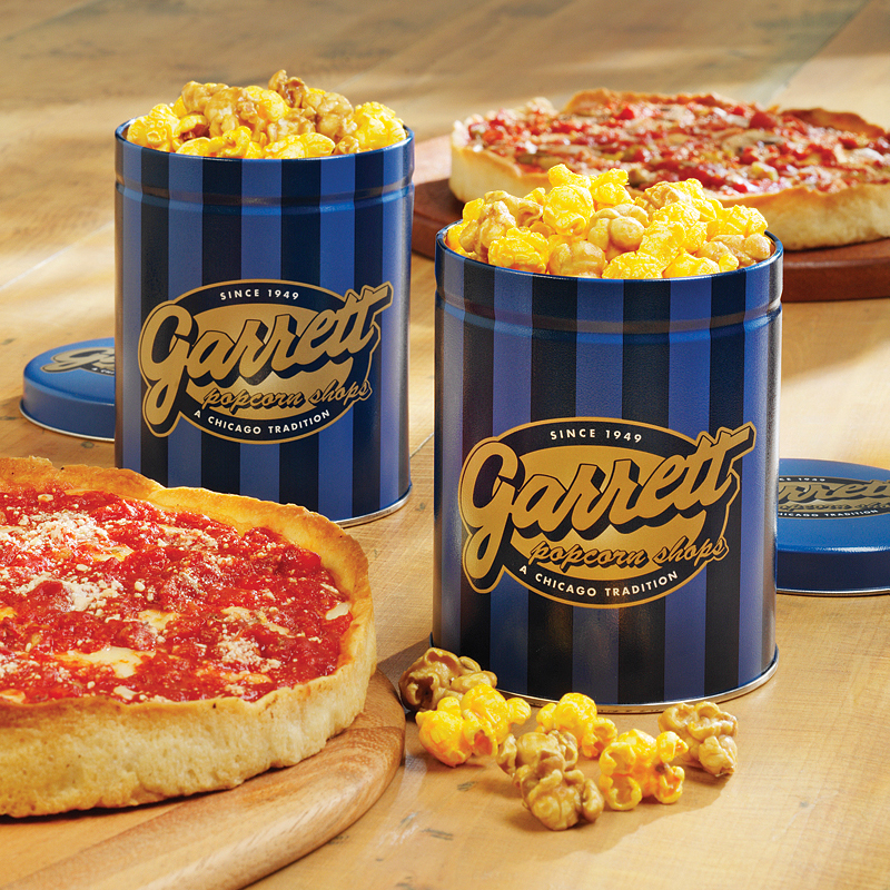 2 Garrett Popcorn Petite Tins & 2 Lou's Pizzas