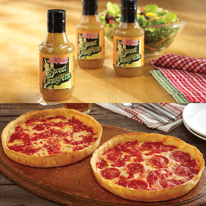 3 Bottles of Lou's Sweet Vinaigrette Salad Dressing & 2 Pizzas