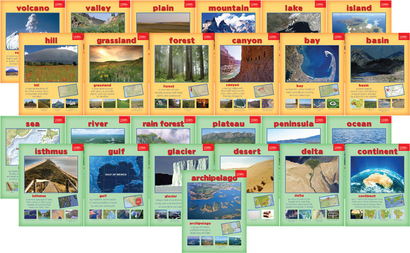 Geography Terms Mini-Poster Set of 25