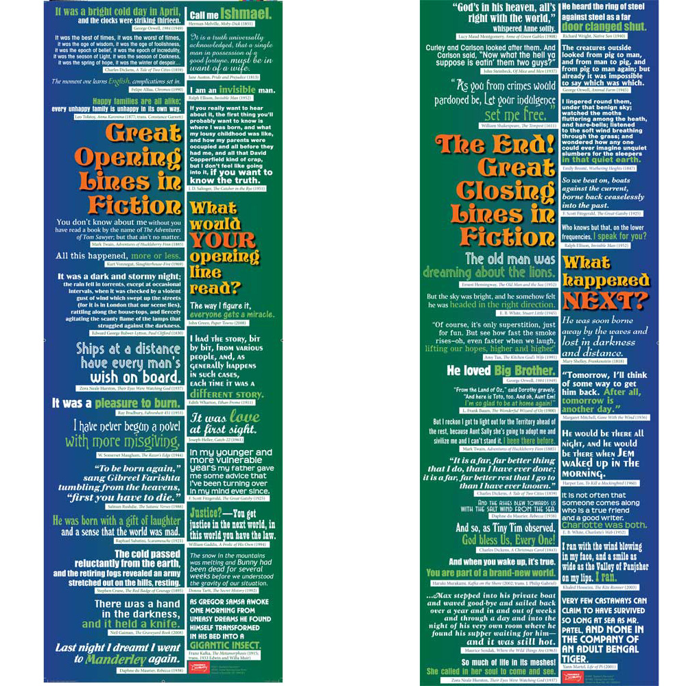 Great Opening and Closing Lines in Fiction Poster Set