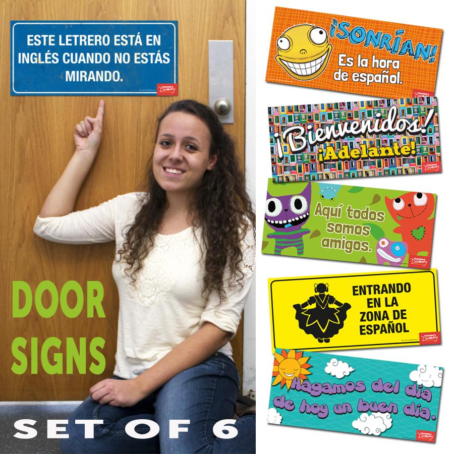 Door Signs Spanish Set of 6