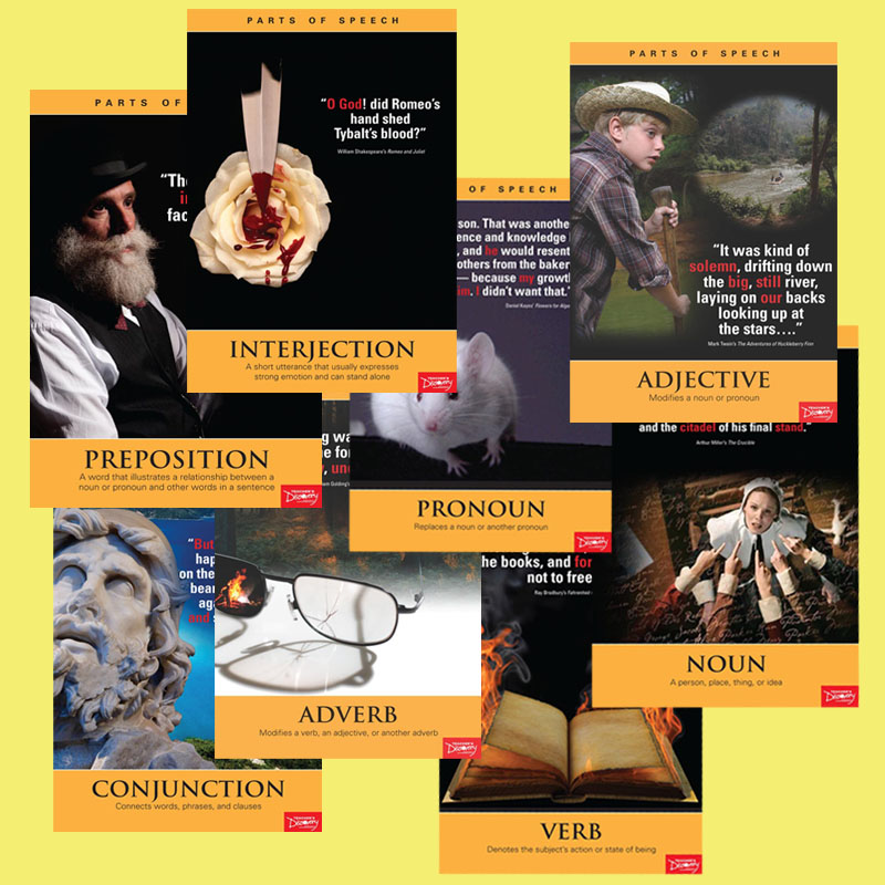 Parts of Speech Literature Posters - Set of 8