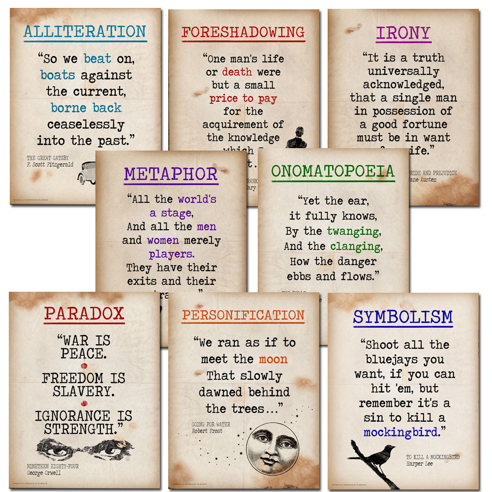 Literary Terms Mini Quote Posters Set of 8