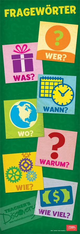Interrogative Words Skinny Poster German