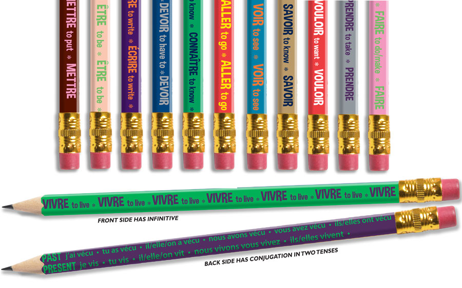 Irregular Verbs-  Conjugated! French Enhanced® Pencils - Box of 144