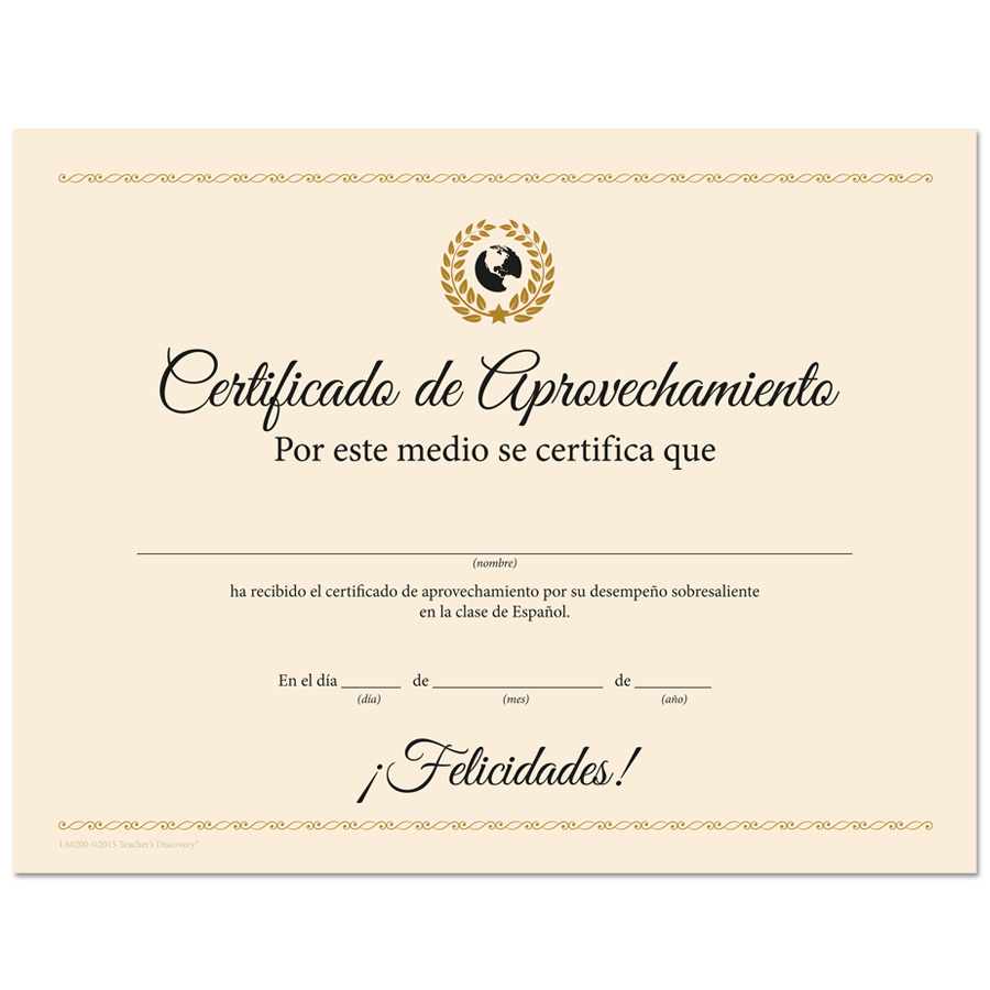 Deluxe Spanish Award Certificates