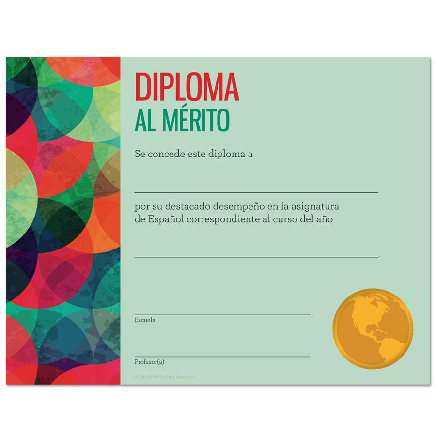 Modern Spanish Award Certificates