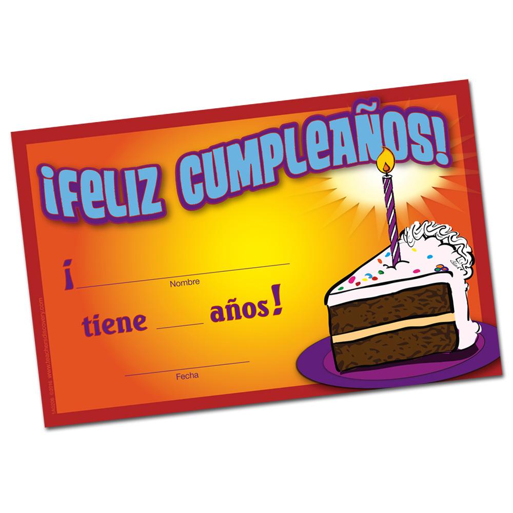 Spanish Birthday Certificates (Set of 36)