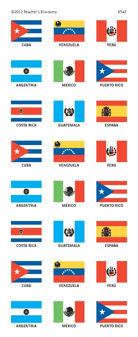 Spanish-Speaking Countries Flag Stickers
