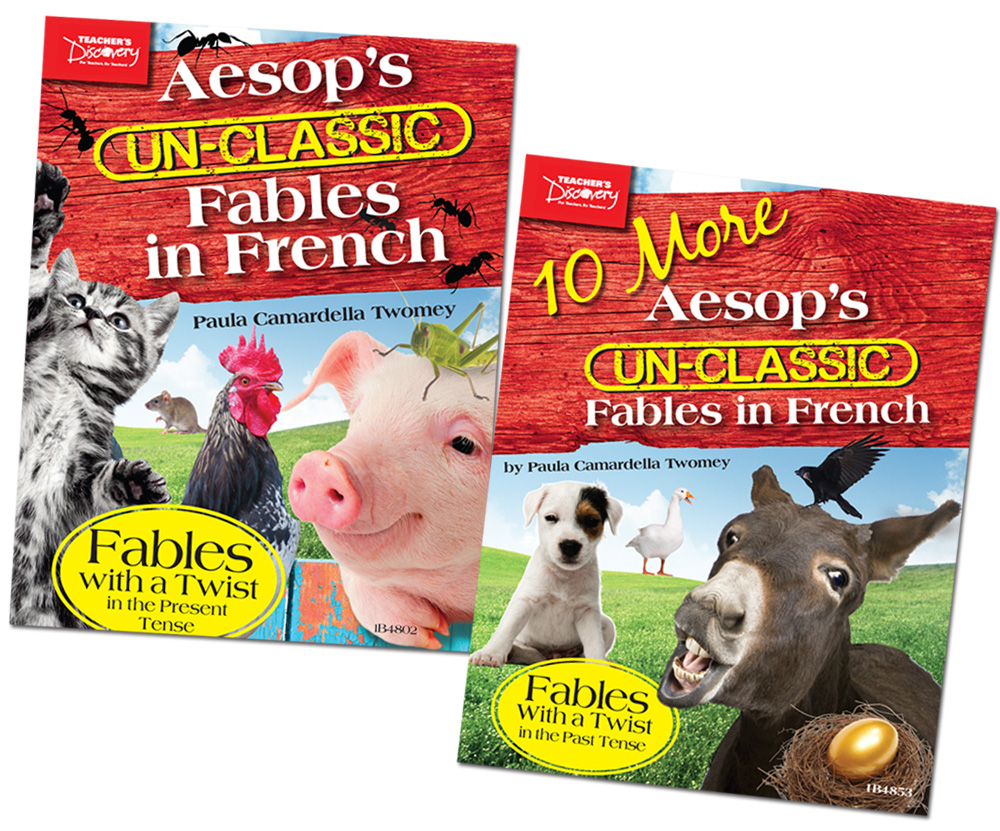 Aesop's Un-Classic Fables in French Present Tense Book and 10 More Aesop's Un-Classic Fables in French Past Tense Book Set