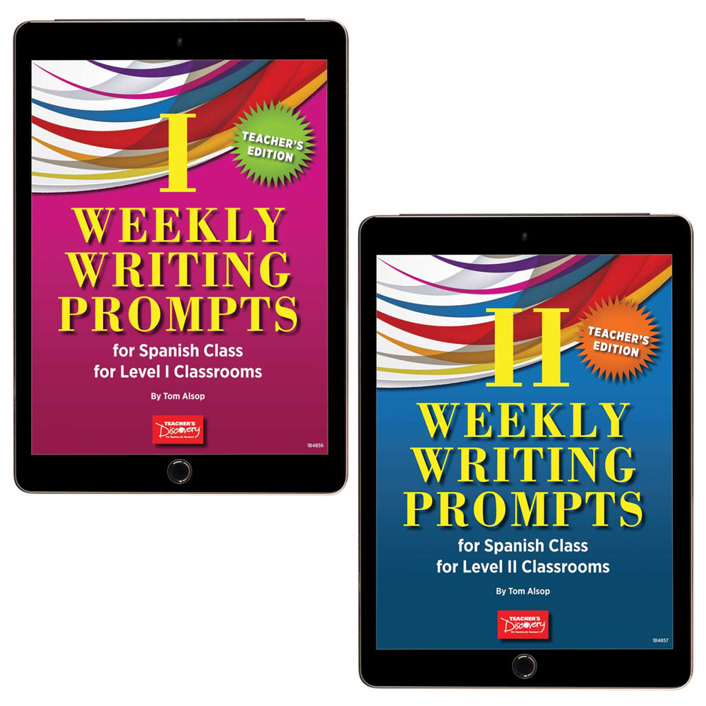 Weekly Writing Prompts for Spanish Level 1 Book and Weekly Writing Prompts for Spanish Level 2 Book Set