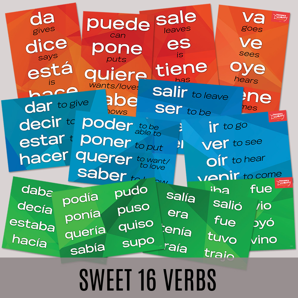 Sweet 16 Spanish Verbs Posters—Set of 12