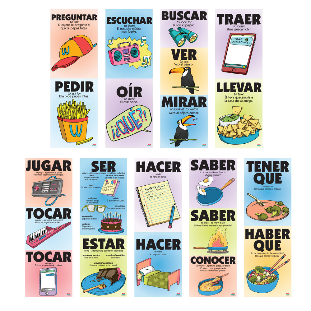 Vexing Verbs Spanish Poster Set of All 9 Posters